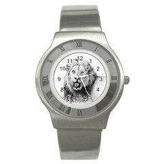 Lion Wildlife Art And Illustration Pencil Stainless Steel Watch