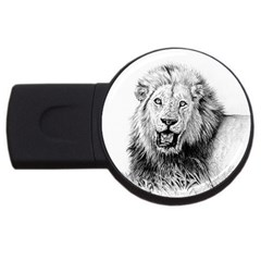 Lion Wildlife Art And Illustration Pencil Usb Flash Drive Round (4 Gb)