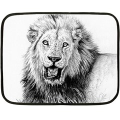 Lion Wildlife Art And Illustration Pencil Double Sided Fleece Blanket (mini)