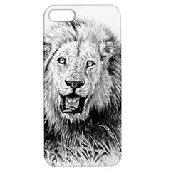 Lion Wildlife Art And Illustration Pencil Apple Iphone 5 Hardshell Case With Stand