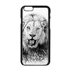 Lion Wildlife Art And Illustration Pencil Apple Iphone 6/6s Black Enamel Case
