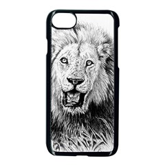 Lion Wildlife Art And Illustration Pencil Apple Iphone 8 Seamless Case (black)