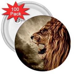 Roaring Lion 3  Buttons (100 Pack)