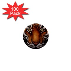 The Tiger Face 1  Mini Buttons (100 Pack)