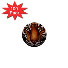 The Tiger Face 1  Mini Magnets (100 Pack)