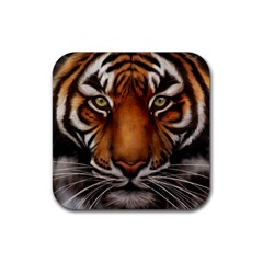 The Tiger Face Rubber Coaster (square)  by Samandel