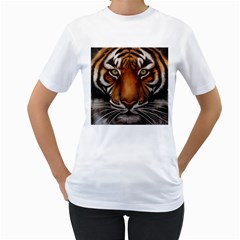 The Tiger Face Women s T Shirt (white)