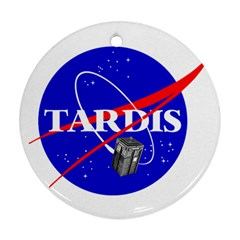 Tardis Nasa Parody Round Ornament (two Sides) by Samandel