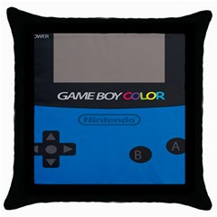 Game Boy Colour Blue Throw Pillow Case (black)