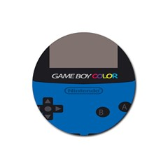 Game Boy Colour Blue Rubber Round Coaster (4 Pack)  by Samandel