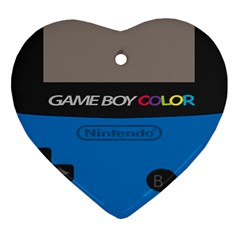 Game Boy Colour Blue Heart Ornament (two Sides)