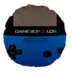 Game Boy Colour Blue Large 18  Premium Round Cushions by Samandel