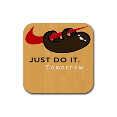 Sloth Just Do It Tomorrow Rubber Square Coaster (4 Pack)