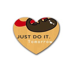 Sloth Just Do It Tomorrow Rubber Coaster (heart)