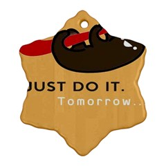 Sloth Just Do It Tomorrow Snowflake Ornament (two Sides)