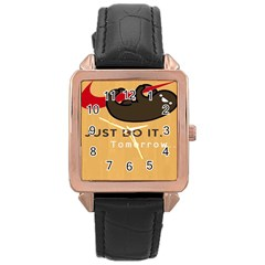 Sloth Just Do It Tomorrow Rose Gold Leather Watch