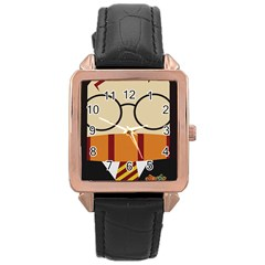 Harry Potter Cartoon Rose Gold Leather Watch