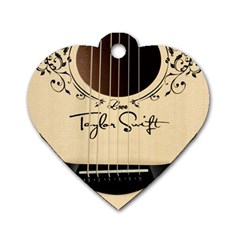 Classic Vintage Guitar Dog Tag Heart (one Side) by Samandel