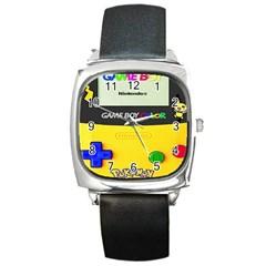 Game Boy Yellow Square Metal Watch