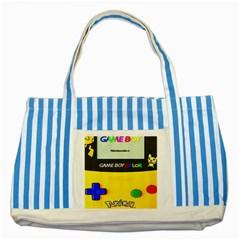 Game Boy Yellow Striped Blue Tote Bag