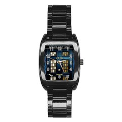 Tardis Sherlock Holmes 221b Stainless Steel Barrel Watch