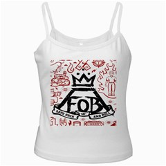 Save Rock And Roll Fob Fall Out Boy White Spaghetti Tank