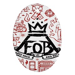 Save Rock And Roll Fob Fall Out Boy Oval Ornament (two Sides)