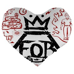 Save Rock And Roll Fob Fall Out Boy Large 19  Premium Heart Shape Cushions by Samandel