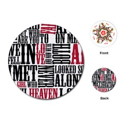 Pierce The Veil Hell Above Lyrics Poster Playing Cards (round)