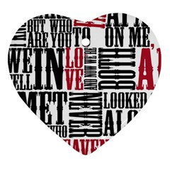 Pierce The Veil Hell Above Lyrics Poster Heart Ornament (two Sides) by Samandel
