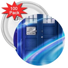 Tardis Space 3  Buttons (100 Pack)