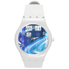 Tardis Space Round Plastic Sport Watch (m)