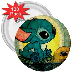 Stich And Turtle 3  Buttons (100 Pack)