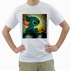 Stich And Turtle Men s T Shirt (white) (two Sided)