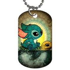Stich And Turtle Dog Tag (one Side)