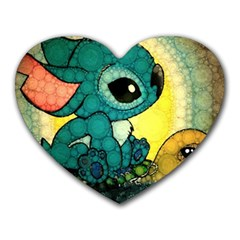 Stich And Turtle Heart Mousepads
