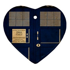 Tardis Poster Heart Ornament (two Sides)