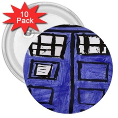 Tardis Painting 3  Buttons (10 Pack)