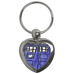 Tardis Painting Key Chains (heart)  by Samandel