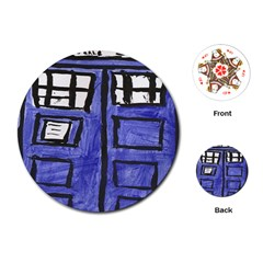 Tardis Painting Playing Cards (round)
