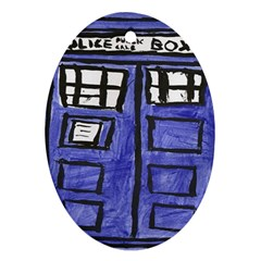 Tardis Painting Oval Ornament (two Sides)