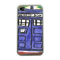 Tardis Painting Apple Iphone 4 Case (clear) by Samandel