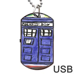 Tardis Painting Dog Tag Usb Flash (two Sides) by Samandel