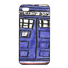 Tardis Painting Apple Iphone 4/4s Seamless Case (black)