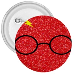 Glasses And Lightning Glitter 3  Buttons
