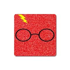 Glasses And Lightning Glitter Square Magnet