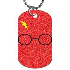 Glasses And Lightning Glitter Dog Tag (one Side)