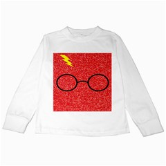 Glasses And Lightning Glitter Kids Long Sleeve T Shirts