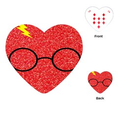 Glasses And Lightning Glitter Playing Cards (heart)
