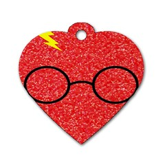 Glasses And Lightning Glitter Dog Tag Heart (one Side)